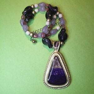 Vintage Faux Purple Stone Pendant Necklace